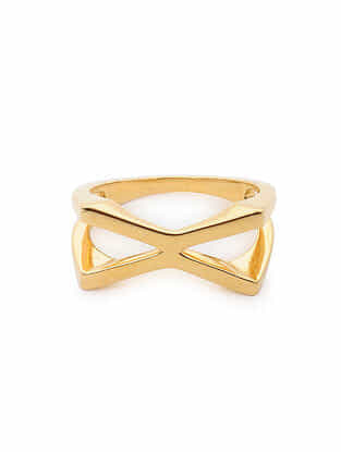 Gold Tone Silver Ring (Ring Size: 9.5)