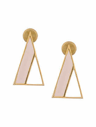 Pink Enameled Gold Tone Silver Earrings