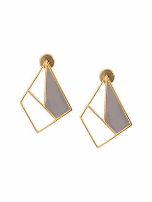 Grey Enameled Gold Tone Silver Earrings