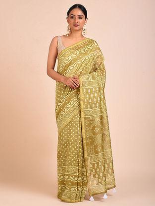Beige-Ivory Block Printed Chanderi Silk Saree