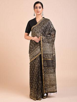 Brown Dabu Block Printed Chanderi Silk Saree