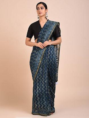 Indigo-Ivory Block Printed Chanderi Silk Saree