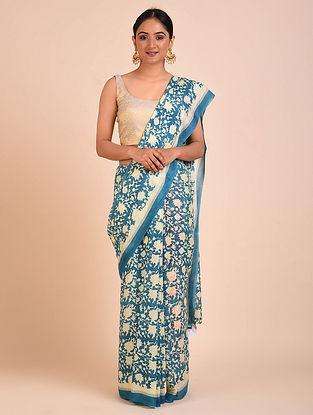 Turquoise-Cream Block Printed Crepe Silk Saree