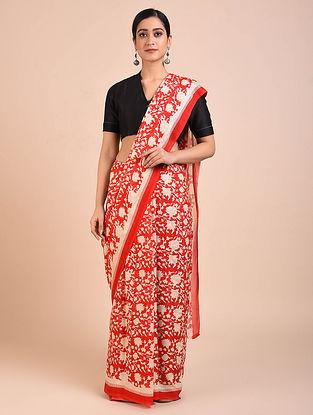 Red-Ivory Block Printed Crepe Silk Saree