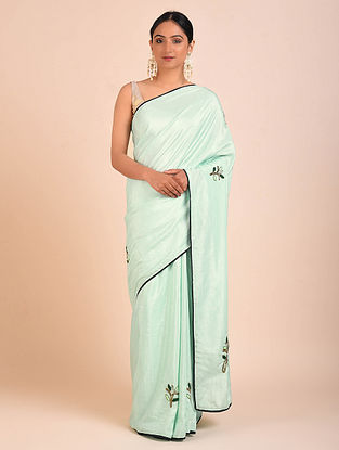 Green Embroidered Crepe Tissue Saree