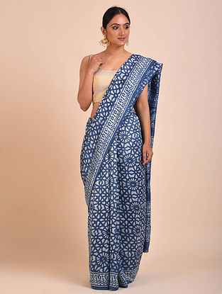 Blue-Ivory Dabu Block Printed Paper Silk Saree