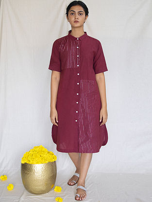 Burgundy Cotton Zari Shirt Dress