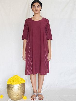 Burgundy Cotton Zari Dress
