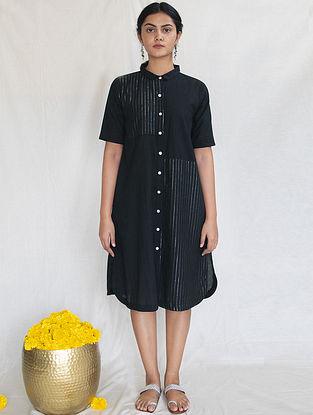 Black Cotton Zari Shirt Dress