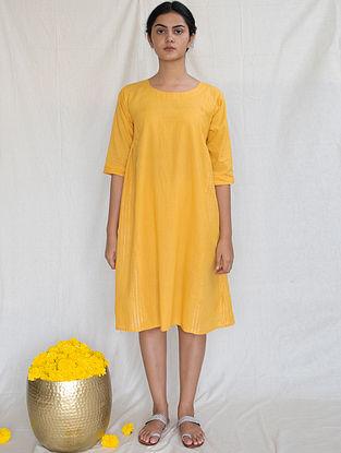 Marigold Cotton Zari Dress
