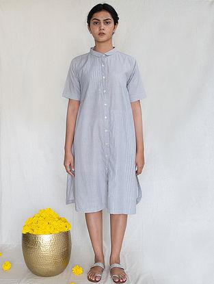 Grey Cotton Zari Shirt Dress
