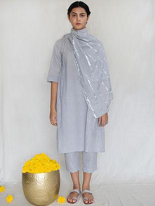 Grey Cotton Zari Tunic