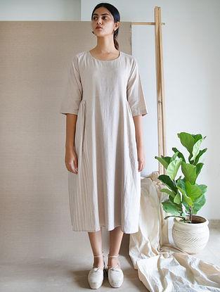 Beige Block Printed Cotton Linen Dress