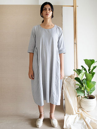 Grey Block Printed Cotton Linen Dress
