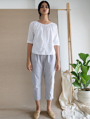 Ivory Khadi Mul Top with Lining