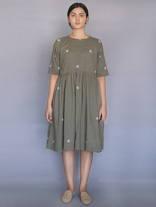 Sage Green Hand Block Printed Polka Dots Cotton Dress with Slip (Set of 2)