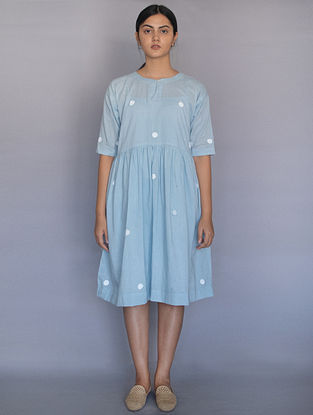 Powder Blue Hand Block Printed Polka Dots Cotton Dress with Slip (Set of 2)