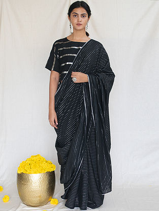 Black Cotton Zari Saree