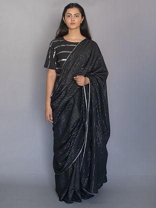 Black Cotton Saree with Zari