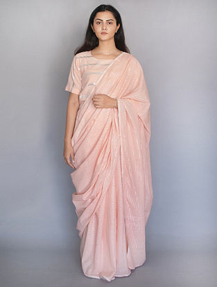 Pink Cotton Saree with Zari