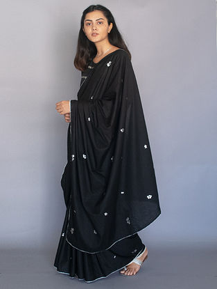 Black Foil Printed Cotton Saree with Zari