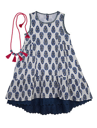 Indigo Printed Flared Cotton Dress with Handcrafted Necklace