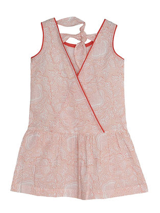 Pink Block Printed Cotton Dress with Back Tie Up
