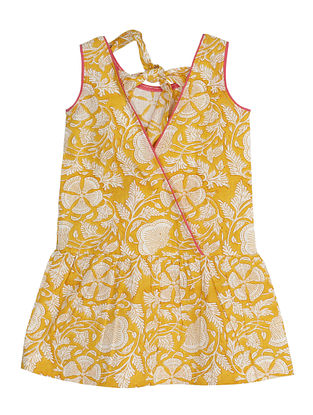 Yellow Block Printed Cotton Dress with Back Tie Up