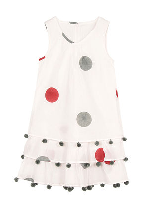 Red Block Polka Dot Printed Cotton Dress with Pom Poms
