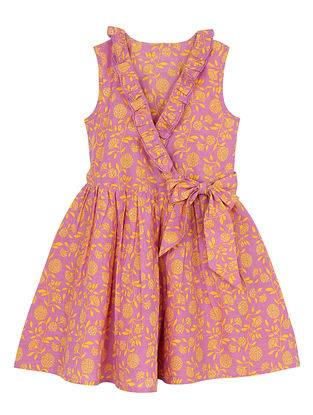 Purple Cotton Wrap-Around Dress with Frill