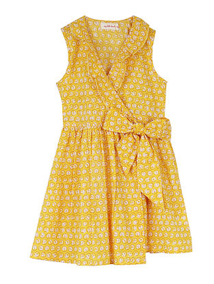 Yellow Cotton Wrap-Around Dress with Frill