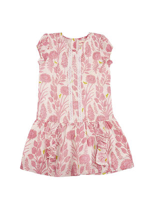 Pink Printed Cotton Dress with Lace and Pin Tuck Details