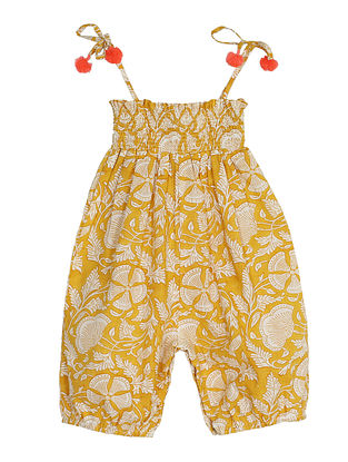 Yellow Block Printed Cotton Romper with Pom Poms