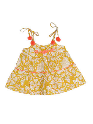 Yellow Block Printed and Embroidered Cotton Top
