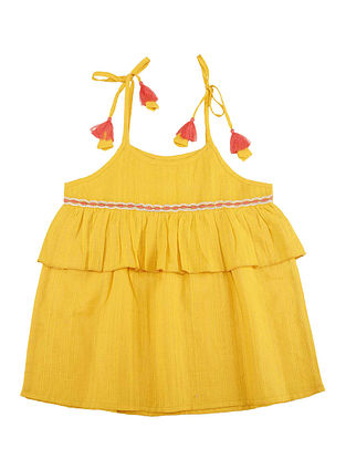 Yellow Embroidered Dobby Cotton Top with Pom Poms