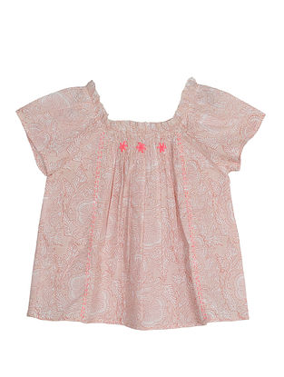 Pink Block Printed Cotton Top with Hand Embroidery