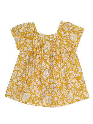 Yellow Block Printed Cotton Top with Hand Embroidery