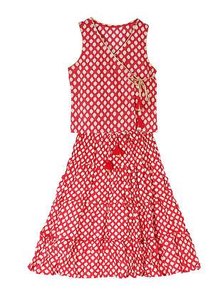 Red Block Printed Cotton Lehenga with Wrap-Around Choli