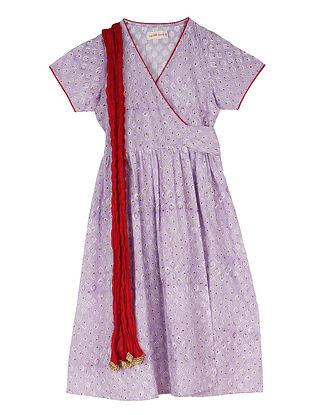 Purple Block Printed Cotton Wrap-Around Long Kurta with Dupatta
