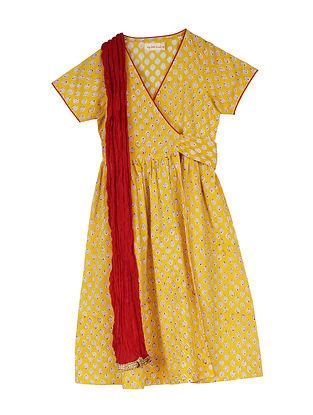 Yellow Block Printed Cotton Wrap-Around Long Kurta with Dupatta