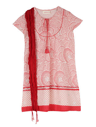 Coral Block Printed Cotton Kurta with Dupatta