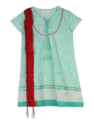 Teal Block Printed Cotton Kurta with Dupatta