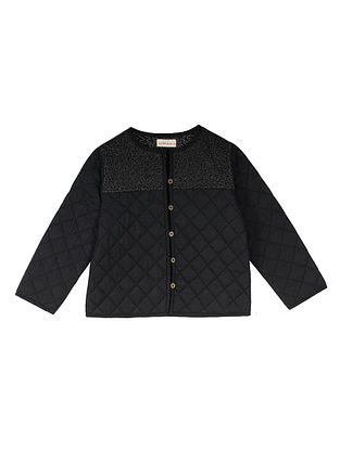 Black Cotton Quilted Jacket with Gold Embroidered Yoke