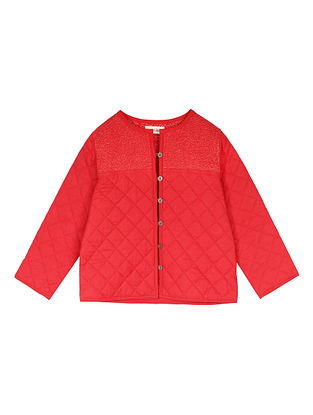 Red Cotton Quilted Jacket with Gold Embroidered Yoke