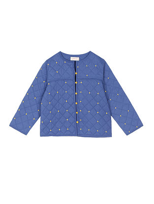 Blue Cotton Quilted Jacket with Embroidery