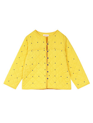 Yellow Cotton Quilted Jacket with Embroidery