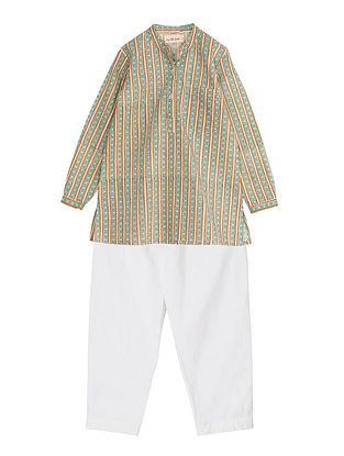 Green Block Printed Cotton Kurta and Pyjama Set