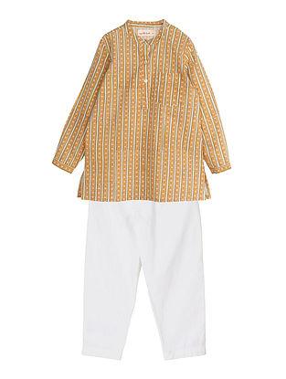 Yellow Block Printed Cotton Kurta and Pyjama Set