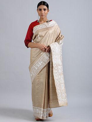 Beige-Ivory Madhubani Hand Painted Bhagalpuri Tussar Silk Saree