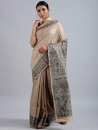 Beige-Black Madhubani Hand Painted Bhagalpuri Tussar Silk Saree